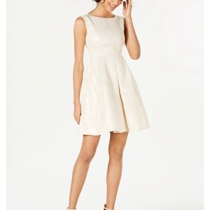 Anne Klein Pleated Dot-Print Fit & Flare Dress